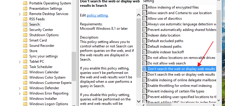 how to disable web search windows 10